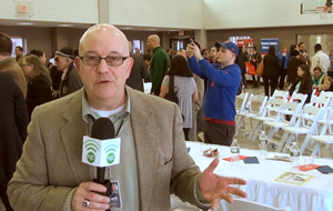Steve Lubetkin reporting from Union City event for NJSpotlight.com