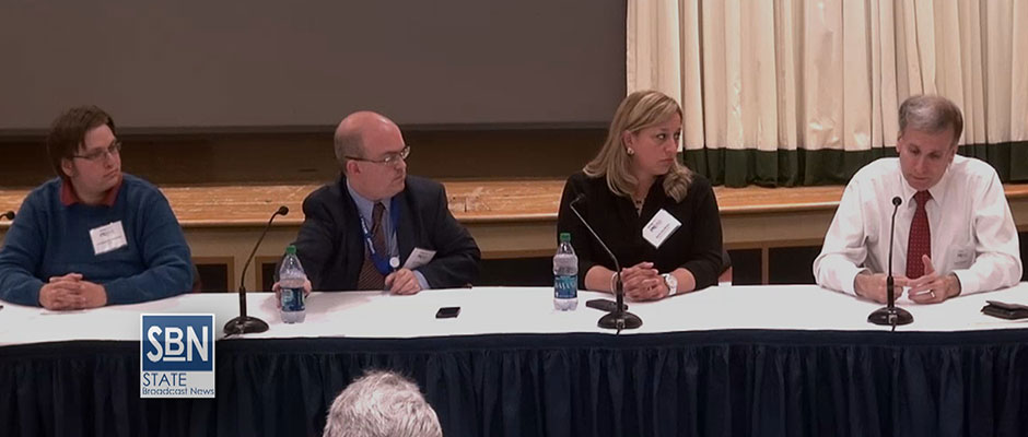 Bruce Johnson, right, news director for Greater Media NJ, makes a point during the news media panel at Monmouth University. Looking on are other panelists. From left, Chris Robbins of NJ.com; David Willis of the Asbury Park Press, and Karla Bardinas of News 12 New Jersey. (StateBroadcastNews.com photo)