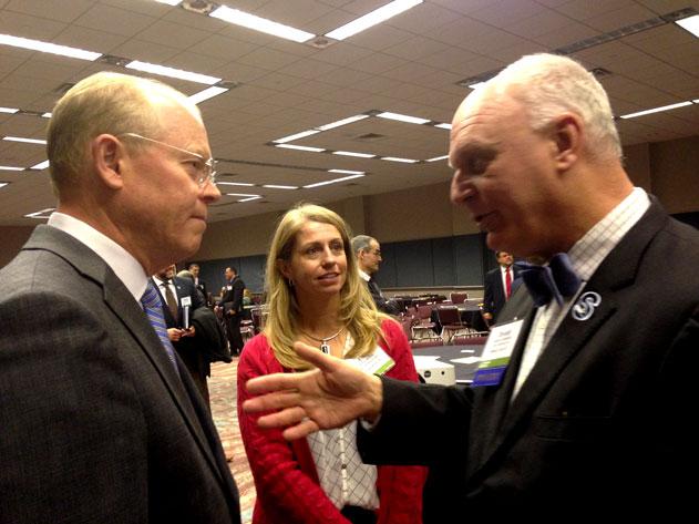 Atlantic City Mayor Donald Guardian, right, chats with Collingswood Mayor James Maley at the ULI Seminar in Atlantic City January 14, 2015.