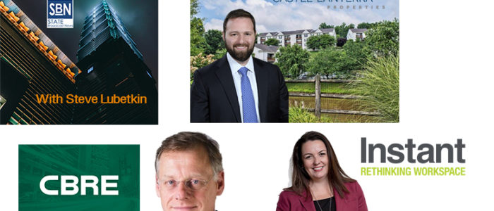 Guests on the 9/6/2019 CRE News Hour podcast are (clockwise from top right): Castle Lanterra Properties CEO Elie Rieder, shown here with the firm's Overlook at Stone Hill, Lynchburg, Virginia; Michelle Bodick of The Instant Group; and CBRE's chief economist, Richard Barkham.