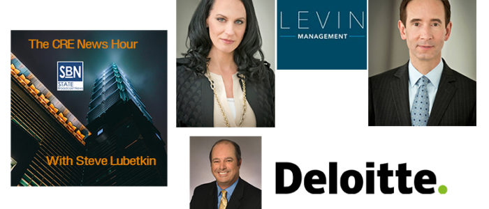 In this episode of the CRE News Hour, guests are (clockwise from top): Melissa Sievwright and Matt Harding and Matt Harding of retail shopping center firm Levin Management and Jim Berry, leader of Deloitte's US real estate practice