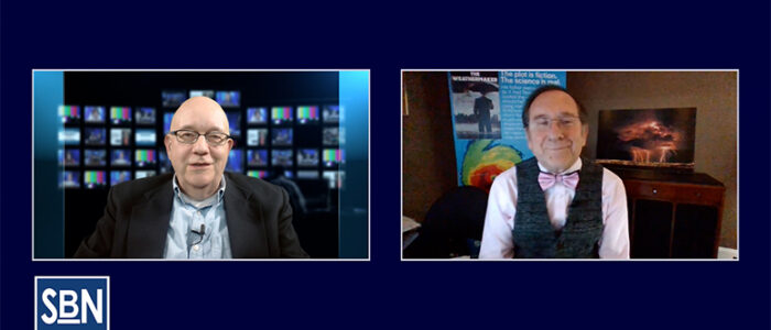 """SBN News Director Steve Lubetkin chats with NBC10 meteorologist Glenn """"Hurricane"""" Schwartz, whose debut novel, """"The Weathermaker,"""" turns climate science into a thriller set against the background of TV news and weather forecasting."""