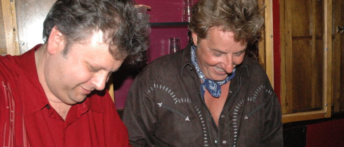 "Philadelphia, Pennsylvania, USA - Friday June 2, 2006: Music publicist Randy Alexander with one of his celebrity clients, rocker Robert Hazzard (""Girls Just Want to Have Fun"") when Hazzard played a club date at The Tin Angel, 20 South 2nd Street, Philadelphia in 2006. Alexander died Sunday night after a brief battle with pancreatic cancer. Steve Lubetkin Photo/State Broadcast News. All rights reserved."